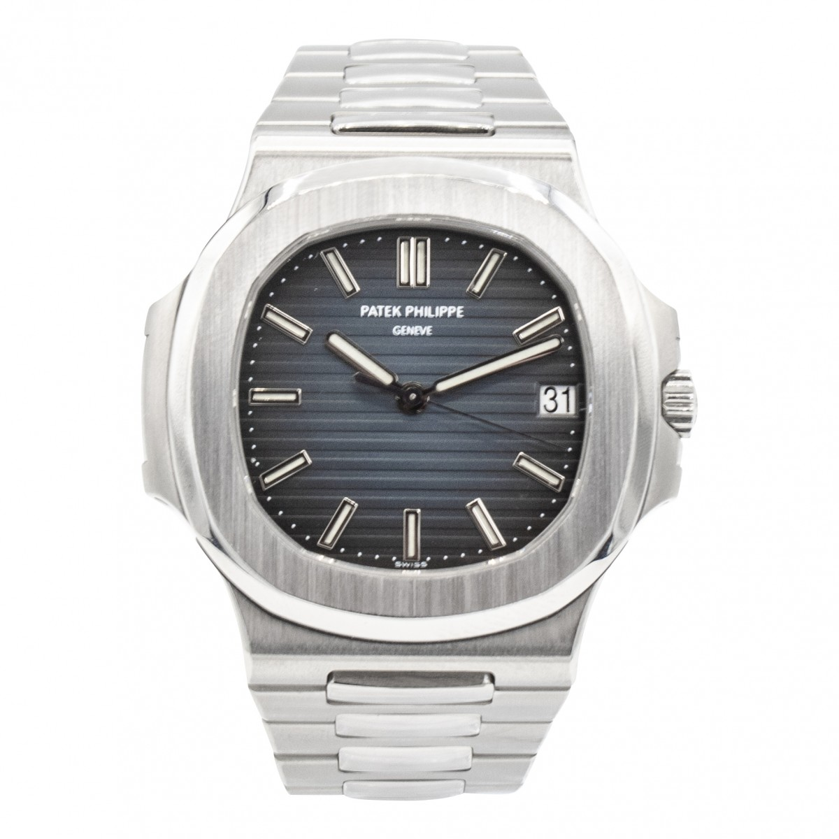 One World Different Times - Patek Philippe Nautilus Stainless Steel Blue  Dial W/ Geneva Seal